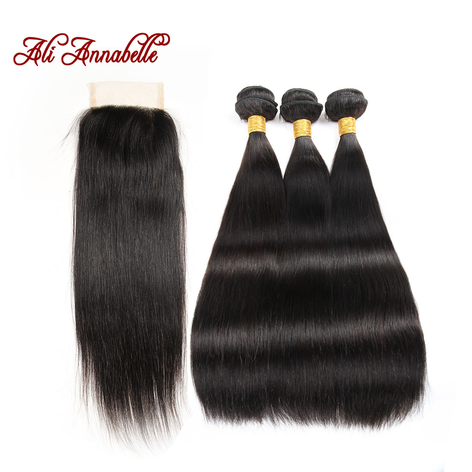 8A Brazilian Virgin Hair Straight With Closure Brazilian Virgin Hair 3 Bundles With Closure Brazilian Straight Hair With Closure