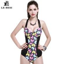 One-Piece Swimsuit Plus Size CDE Large Cup Swimwear Women Push Up Bathing suit Sexy Bodysuit Printed Beachwear