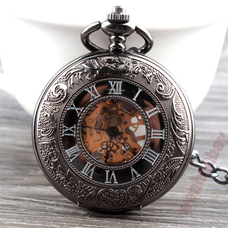 Antique Hollow Mechanical Hand Wind Pocket Watches Roman Style Men Pocket Watches Fob Chain Necklace Hour Male Clock With Box