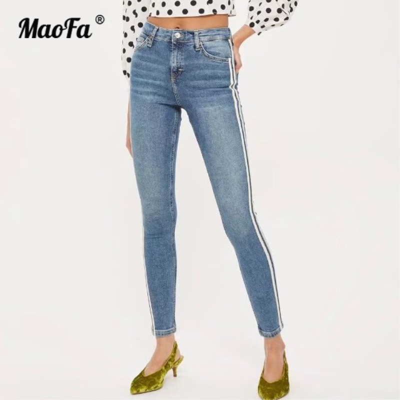 High Waist Stretch Washed Jeans Woman Denim Pants Befree slim Trousers For Women Pencil Skinny Jeans Light Blue Black women pants jeans destroyed ripped distressed hole woman skinny slim trousers blue high waist slim denim pants boyfriend jeans