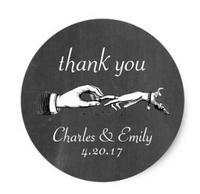 1.5inch Vintage Wedding Ring Thank You Chalkboard Sticker