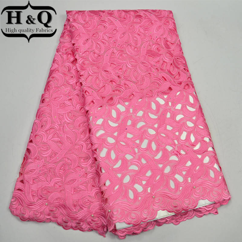 High Quality African Lace Fabrics 2017 Hot Sales French Mesh Laces cotton Jacquard weave Hot drilling swiss pink Laces Fabrics