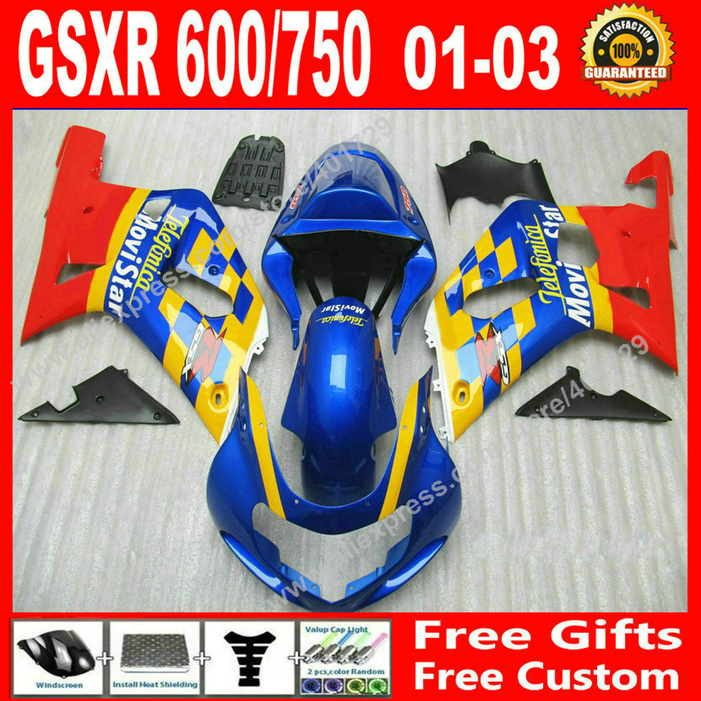 Hot sale Fairings for moyorcycle 2001 2002 2003 red blue yellow SUZUKI GSXR 600 750 motocycle parts 01 02 03 fairing kits HU83