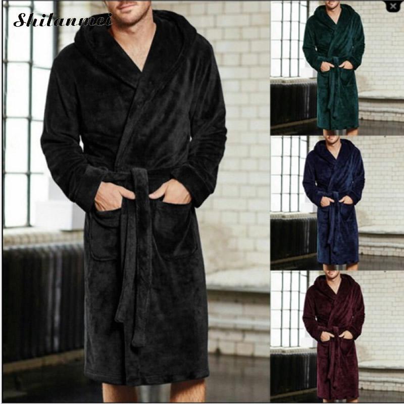 2018 New Winter Men Luxury Bathrobe Mens Warm Silk Flannel Long Kimono Bath Robe Home Clothes Male Night Dressing Gown Bathrobes