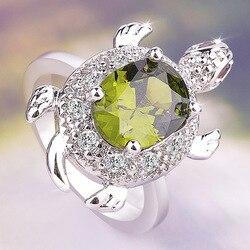 Sevimli hayvan kaplumbağa zümrüt FOlive Yeşil Kaplumbağa Yüzük Retro 925 Gümüş Kristal Zirkon Taş Yüzük Kadınlar Için Kız parti takı