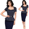 2017 Summer dot stitching fake two sets of professional temperament Tunic Office Work Party Pencil Bodycon Dress Vestidos