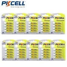 40 قطعة/الوحدة pkcell AA NiMh بطارية قابلة للشحن 2A 600mAh 1.2 فولت أكثر من 1000 مرات دورات للعب مصباح يدوي ، التحكم عن بعد