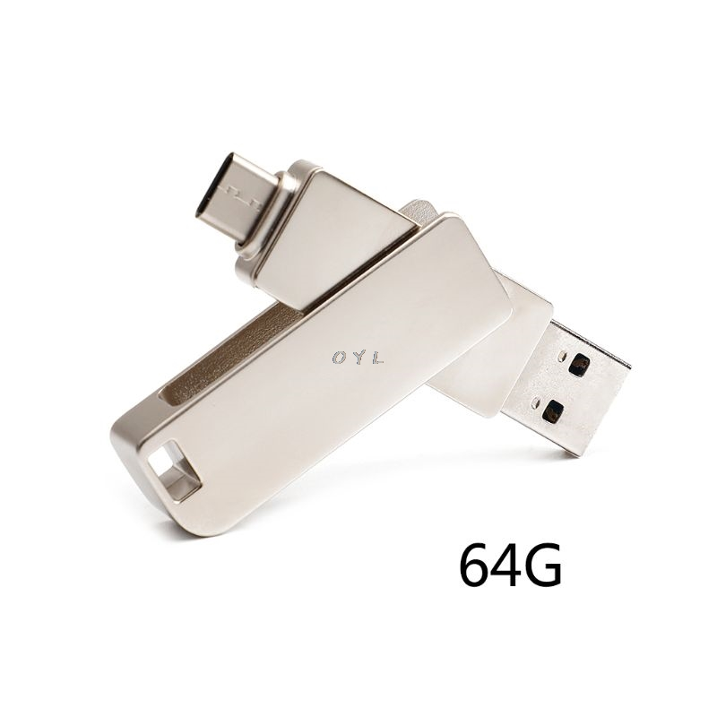 OTG USB Flash Memory Stick Thumb Drive 64GB U Disk USB2.0 Type-C Connector External Storage Expansion Computer PC Android Phone