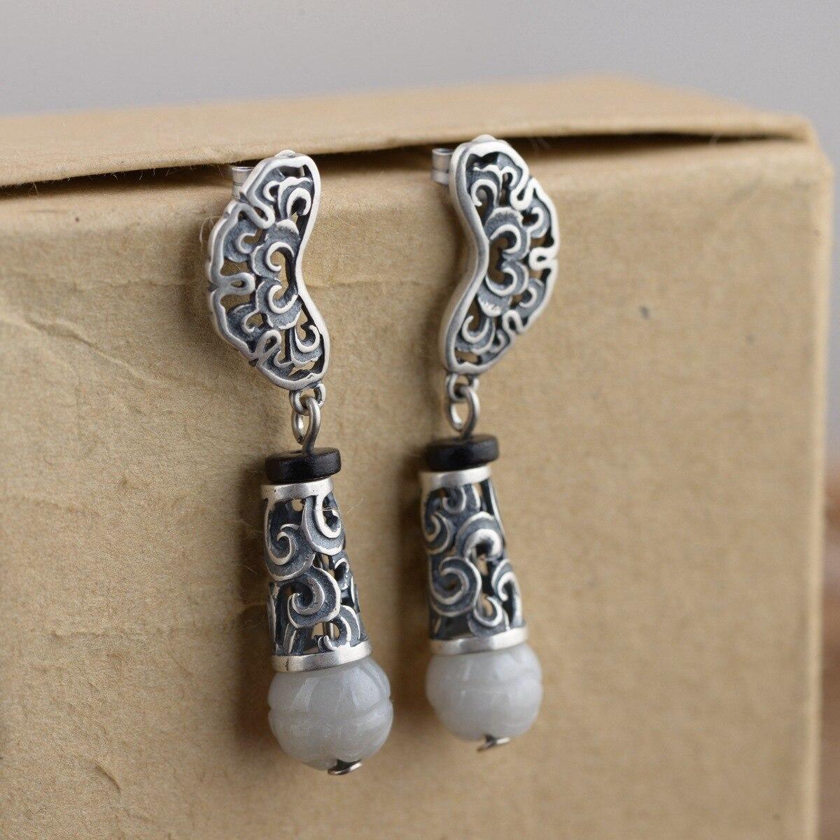 Argent reconstituant des manières antiques femmes premier bijoux mode boucles d'oreilles