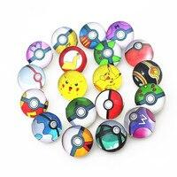 Mix 50pcs18mm Pokemon Poke ball Snap Buttons Charms Fit Snap Bracelet/Necklace DIY Jewelry