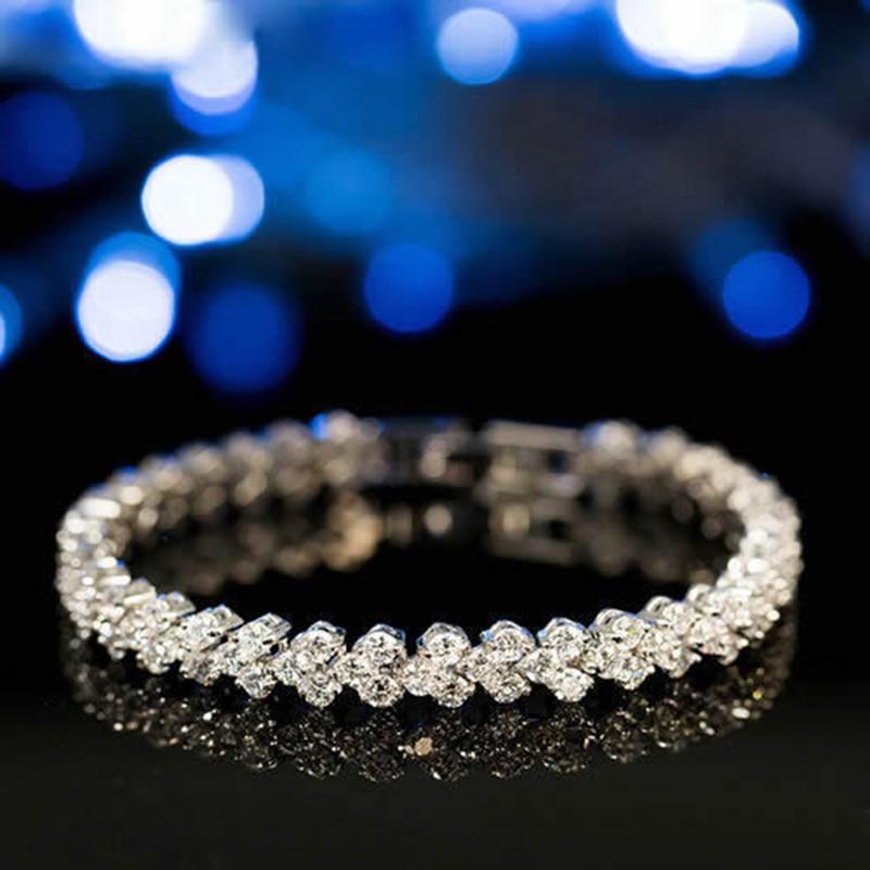 Women Silver Rose Gold Bracelet for Female Crystal Heart Charm Bracelet Women Bridal Wedding Fine Jewelry Gift 1