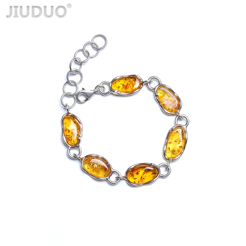 JIUDUO jewelry  Pure natural Baltic amber beeswax female bracelet 925 silver inlay support re-inspection attached certificateJIUDUO jewelry  Pure natural Baltic amber beeswax female bracelet 925 silver inlay support re-inspection attached certificate
