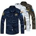 2016 Aeronautica Militare Mens Shirts Army Camisas Slim Fit US Green Fitted Blue White Shirts Mens Army Camisas Hombre Fashion