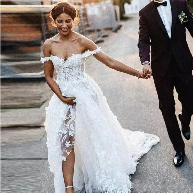 UMK 2020 Vestido De Noiva 3D Lace Wedding Dress Sexy Off the Shoulder See Through Tulle A Line Wedding Dresses