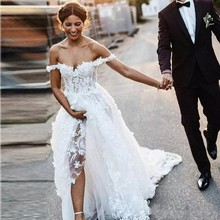 UMK Vestido De novia 3D De encaje con hombros descubiertos, tul para ver a través De la línea A, 2020
