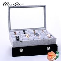 Large Size Soft Velvet Watch Storage Carrying Wood Box 12 Pillow Slots With Glass Lid Bracelet Bangle Display Showcase Organizer