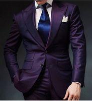 Roxo Mens Ternos De Baile de Casamento 2 Peças Trajes Jantar Blazer Noivo Smoking Dois Botões Melhor Homem Padrinho de casamento terno masculino