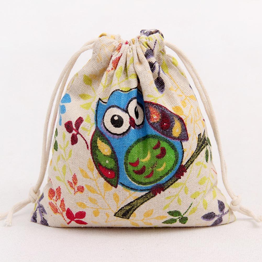 Girl Coin Purse Organizer Drawstring Bag Storage Bag Travel Bag Owl Printing Drawstring Beam Port