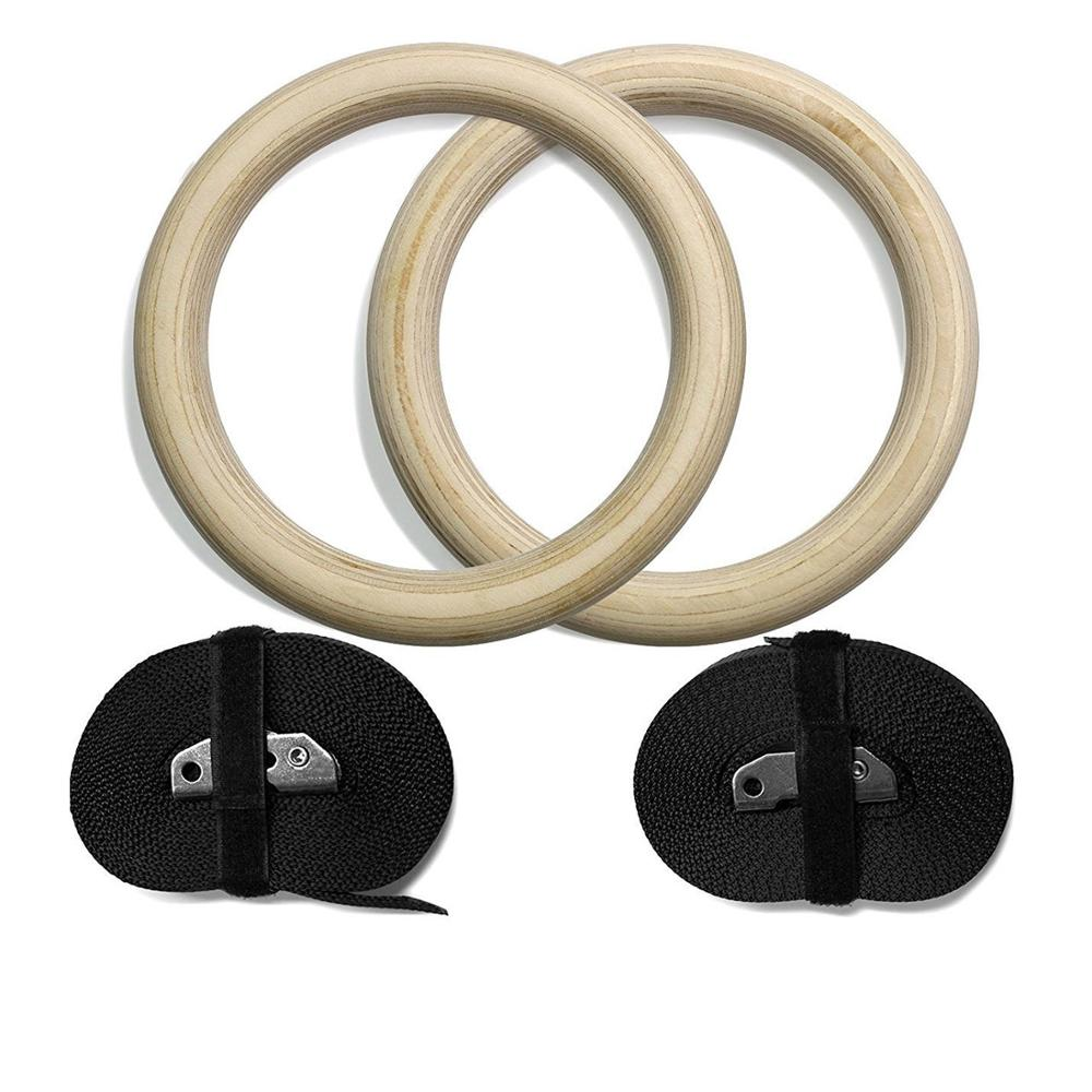 1pair New Wooden 28mm Exercise Fitness Gymnastic Rings Gym Exercise Pull Ups Muscle Ups