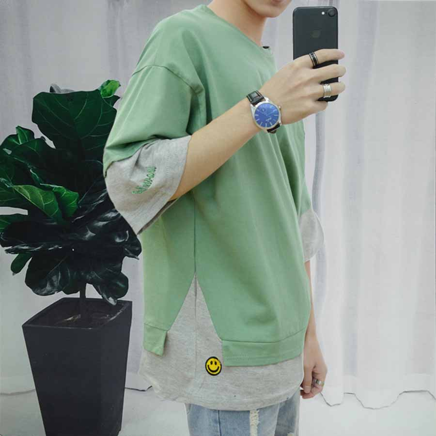 b20c277b5744 summer korean cute tshirt men youth half Sleeve Patchwork Fashion Casual  Tshirts Men Harajuku streetwear Tshirt