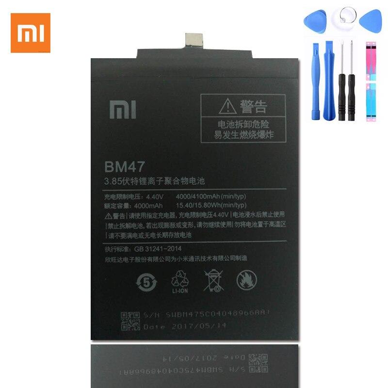 100% Original Xiaomi Redmi 3 BM47 Batterie bm47 Ersatz Große Kapazität 4000 mAh Li-Ion Akku Hongmi Redmi 3 Pro 5,0 zoll Smart