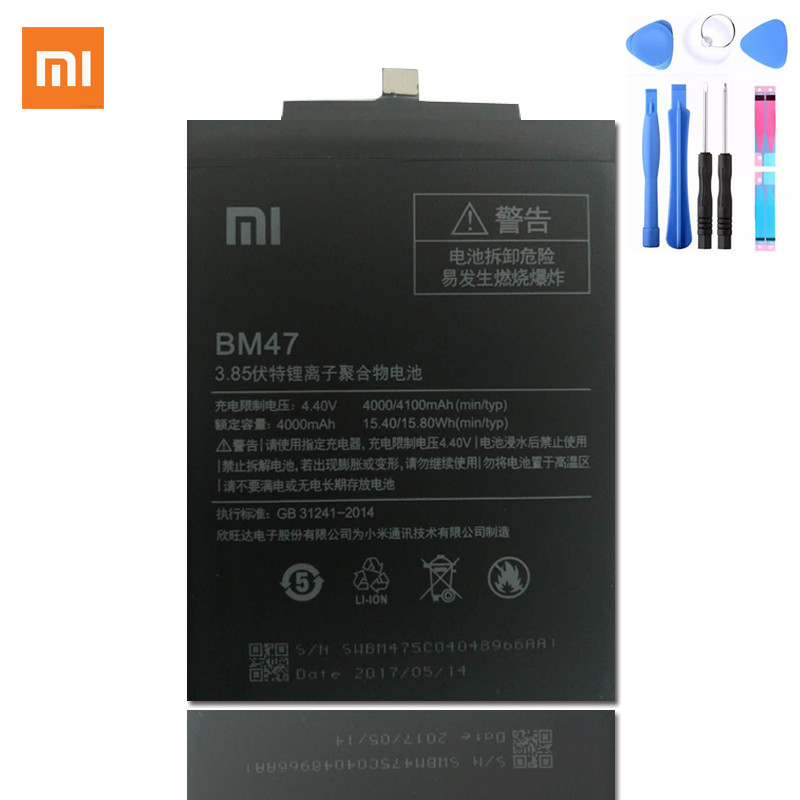 100%Original Xiaomi Redmi 3 BM47 Battery bm47 Replacement Large Capacity 4000mAh Li-ION Battery Hongmi Redmi 3 Pro 5.0inch Smart