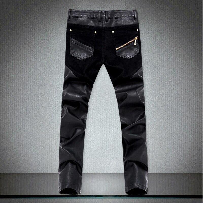 Cuir Hommes Coréenne Slim Black La Mode Nouvelle Zipper Plus Taille Streetwear Fit 2018 Crayon Pantalon Casual Pu Moto Splice wRAqqx