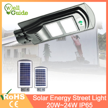лучшая цена Solar led Street Light 20W 40W For Home Garden Fence PIR Motion Sensor Detection Wall Lamps Solar Waterproof led light outdoor