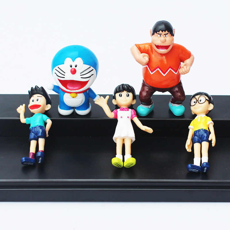 5 pçs/set Anime Bonito Dos Desenhos Animados Doraemon PVC Action Figure Collectible Modelo Toy Boneca Caçoa o Presente 6 cm