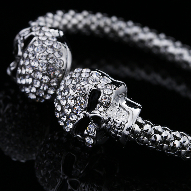 Punk Skull Crystal Open Bangle For Men 3 Color Gothic Skeleton Double Skull Heads Cuff Bracelets & Bangles Men's Jewelry 4