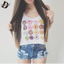 Dingtoll Hot Leuke 2016 Mode Vrouwen Donuts Crop Tops Meisje Studenten Harajuku Blusa Tops Wit XL WCT07(China)