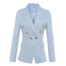 Высококачественный новейший дизайнерский Блейзер 2020, женский двубортный пиджак с длинными рукавами и металлическими кнопками в форме льва, куртка, верхняя одежда, пиджак, верхняя одежда, для женщин