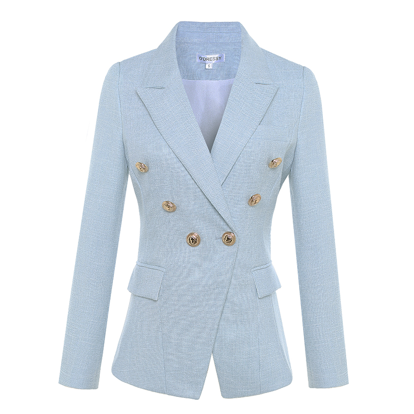 HIGH QUALITY Newest 2018 Designer Blazer Women's Long Sleeve Double Breasted Metal Lion Buttons Blazer Jacket Outer S-XXXL