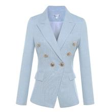 Yüksek kalite yeni 2020 tasarımcı Blazer kadın uzun kollu kruvaze Metal aslan düğme Blazer ceket dış S XXXL