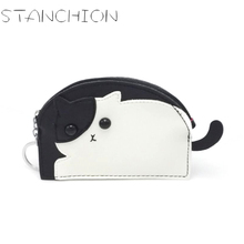 STANCHION Kitty Coin Purse Women Coin Wallet Small Mini Cute Cartoon Card Holder Money bags For girls ladies kids Change Purse стоимость