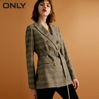 ONLY womens' autumn new plaid double breasted suit jacket Buckle belt. Lid pocket|118308515