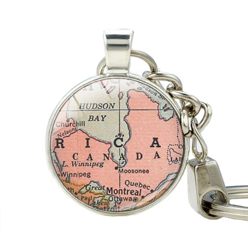Canada country map keychain key ring canada vintage map for Bulk jewelry chain canada