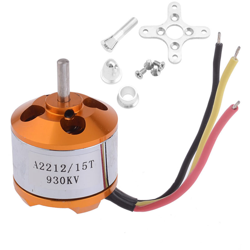 Brushless Outrunner Motor 15T Gear w/ Prop Adapter A2212 930KV For R/C Airplane