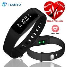 Teamyo V07S Смарт-фитнес браслет Приборы для измерения артериального давления часы пульсометр трекер Смарт-браслет для IOS телефона Android