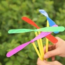 12 шт Пластиковые бамбуковые стрекозы пропеллер Наружная игрушка Дети подарок Flying-P101