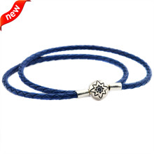 Dark Blue Leather Bracelets and Necklaces for Women Jewelry Making Fits European Bead Charm 925 Sterling Silver Starry Sky Clasp dark blue leather bracelets and necklaces for women jewelry making fits european bead charm 925 sterling silver starry sky clasp