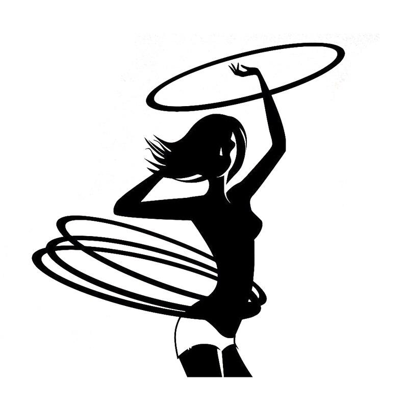 11.2CM*11.9CM Creative Hula Hoop Girl Gymnastics Fitness Sports Car Sticker Vinyl Black/Silver S9-0476