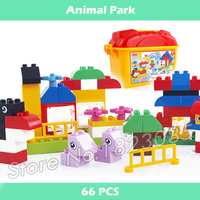 66pcs My First Creative Animal Park Model Big Size Building Action Bricks Compatible With Lego Duplo