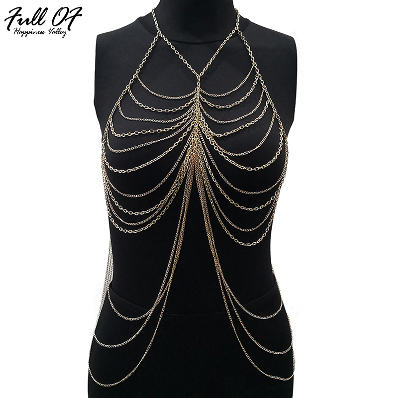 Buy Sexy Women Gold Plain Metal Chest chain Hollow Crop Tops Halter Camis Summer Beach vest Backless Womens Nightclub Party Tank Top