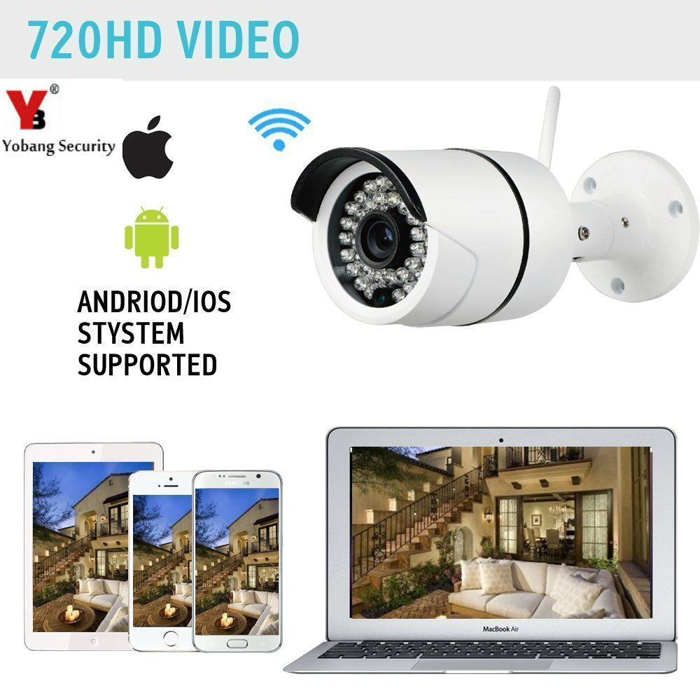 Yobang Security-720P Outdoor IP Camera WiFi Wireless Smart Security Camera Support Max 128G Waterproof P2P CCTV Surveillance Cam vstarcam c7815wip 720p hd wireless bullet wifi ip camera outdoor security waterproof cctv compatibility and support 128g tf card