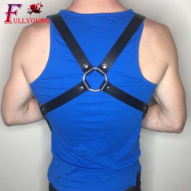 Fullyoung Leather Harness goth Sexy Erotico Body Bondage Pu Leather Punk Male Harness Sexy Shoulder Strap Costume Belt
