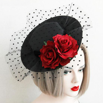 Lolita Party Gift Mini Top Hat Rose Flower Lace Fascinator Hair Clip Accessory Goth Hats Vintage 1