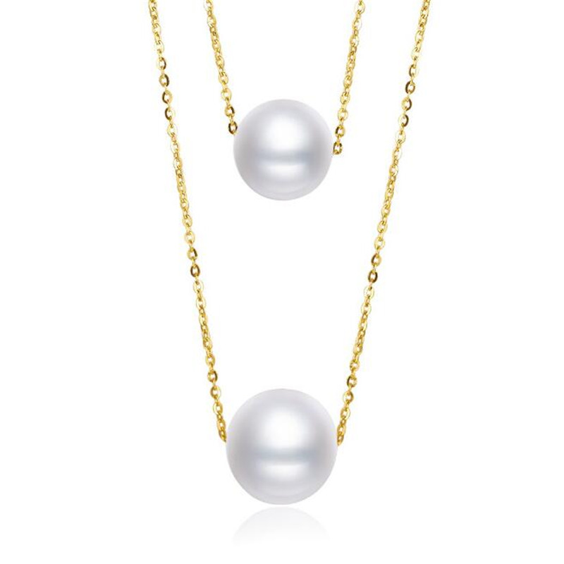 100% 18K Yellow Gold Natural Cultured Freshwater Pearl Elegant Women Engagement Necklaces for Wedding Real 18k Jewelry