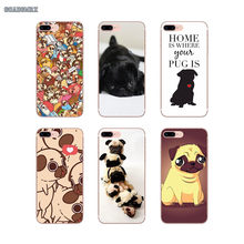 For Huawei P Smart P8 P9 P10 Lite Y6 Y7 Y9 Prime Y6 Pro 2017 2018 2019 Transparent Soft Cases Covers Animal Pug Puppy Pattern(China)