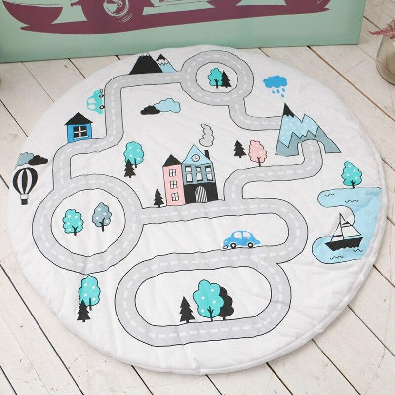 Ev ve Bahçe'ten Halı'de D INS Özel Macera Yol Yuvarlak Battaniye Halı Çocuk oyun halısı Bebek emekleme paspası Orman Otoyol Kilim Ev Dekorasyon title=